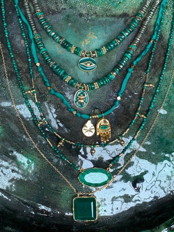 Collier heishi malachite et pyrite