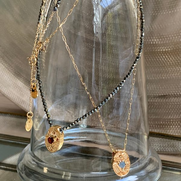 Collier pyrite et cœur de pierre