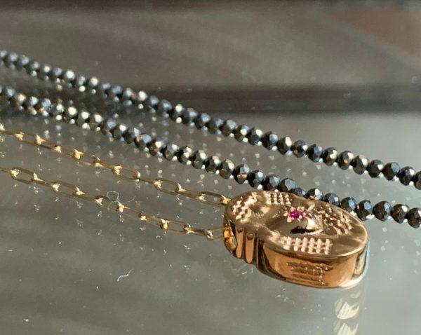 Collier Ovale coeur zircon sur chaine