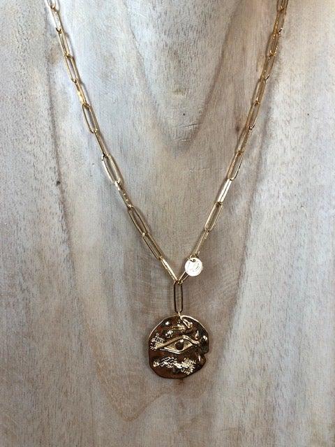 Collier grosse chaîne et grosse médaille égyptienne